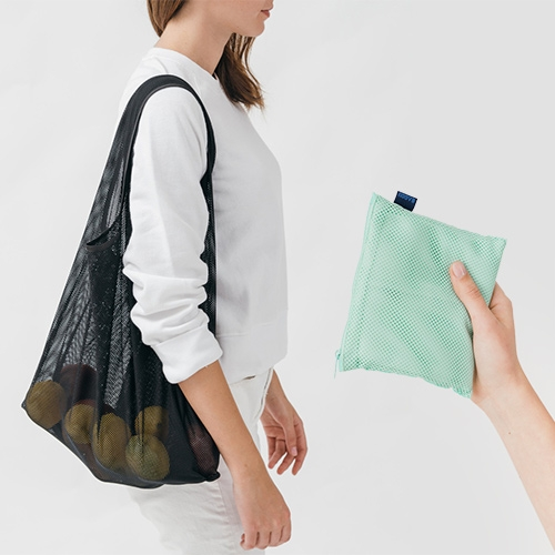 Baggu goes MESH! We've seen them branch out from the nylon shopping bags to leather, totes, home goods with UO, and more... now their classic shape (and pouch) come in a lighter weight mesh.