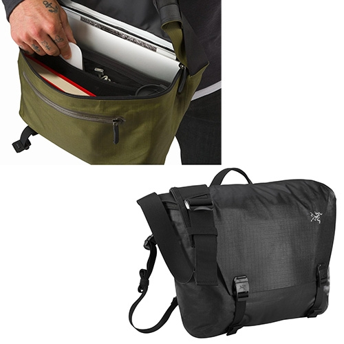 "Arc'teryx Granville 10 or 16 Courier Bag - Highly water resistant AC² fabric has critical seams taped for weather protection. The 10 fits a 12"" max laptop, the 16 fits a 15"" max laptop."