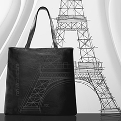 Metamorphosis project by Eleny Neculai, each section of the Eiffel Tower processed individually to form a geometric pattern on five different bags and accessories.