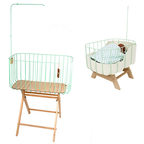&me baby cribs are inspired by vintage cribs with a new modern twist. Made of coated steel and FSC Birch wood. And they even have matching mini cribs for dolls.