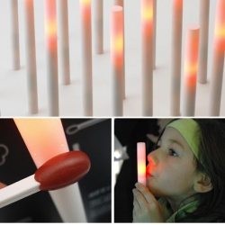 Chiaki Murata's HONO LED Candles actually react to wind and can be turned off by blowing on them.