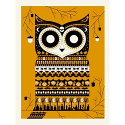 Adorable Halloween Owl print by Methane Studios.