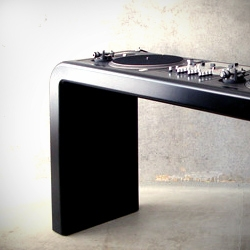 Slick set of high end DJ-desks by Berlin's Metrofarm Studio.