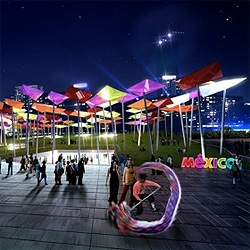 A series of colorful umbrellas covering a public plaza was awarded 1st prize for the Mexican Pavilion at Shanghai 2010, currently under construction. By SLOT Architects.