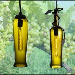 Flared Wine Bottle Antique Green Contemporary Mini Pendant with Vine Accent