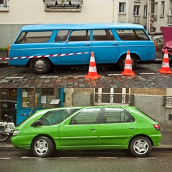 Photographer Yan-Alexandre stumbled upon the set of Michel Gondry's next film, The Foam of the Days, and discovered these beautifully hacked-together cars. The attention to detail is stunning.