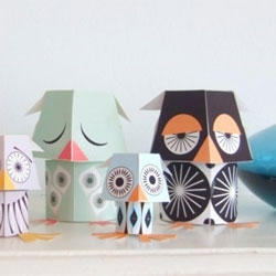 Paper toy designs by Madeleine Rogers of Mibo Studio.