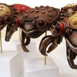 Michihiro Matsuoka's steam punk sculptures from stone clay and acrylic paint.