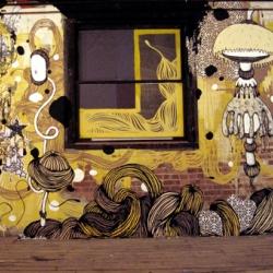Microbo, the viral graffiti street artist , displays new work.