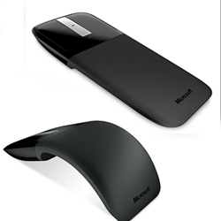 Microsoft's 'Arc Touch' mouse arches its back for comfortable mousing before packing flat for easy transport.