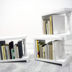 Bookshelves are flat, so if your collection is incomplete, you have to put the books on an angle so they don't collapse. 4° by MicroWorks leans on a 4 degree angle letting gravity do the work.