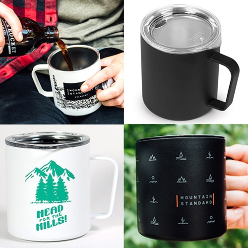 MiiR Camp Cup - a stunning customizable update to the classic enamel camp cups. 12oz, double walled medical grade stainless steel with BPA free lid with clean matte powder coated ready for screen printing and laser etching!