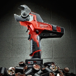 The Milwaukee M12 600 MCM Cable Cutter is powered by a ratcheting mechanism and superior blade geometry and is able to cut through large cables.