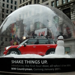 Two Life-size MINI snow globes featuring the new, 4-door, All Wheel Drive MINI Countryman. There is one at Herald Square in NYC and one at the 3rd Street Promenade in LA.
