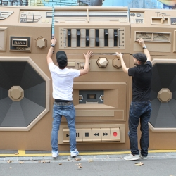 The Mini Ghettoblaster, a huge boombox that surrounds the car. The Mini acts as the battery for the powerful sound.