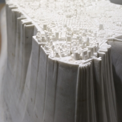 Presented last week at the Park Avenue Armory art fair, Little Manhattan is artist Yutaka Sone's marble rendering of the city. Sone was born in Shizuoka, Japan and is now based in Los Angeles.
