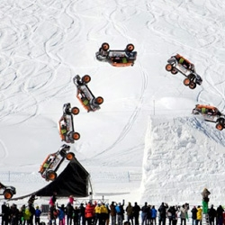 Guerlain Chicherit does a back flip in a John Cooper Works Mini Cooper in Tignes, France.