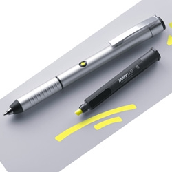 Pen lovers need to check out this new LAMY highlighter combo pen - push a button and it basically births a highlighter mini pen.