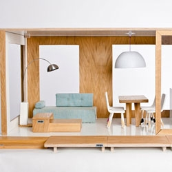 Miniio modern designer dollhouses are gorgeously scaled 1:6 to fit Barbies and other similarly sized fashion dolls.