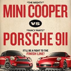 Mini is using the power of the internet to challenge Porsche to a race: Mini Cooper S vs. Porsche 911 Carrera S.