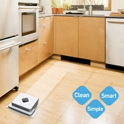 Mint Cleaner ~ one of my favorite CES finds so far... it's like a swiffer got with a roomba + got a makeover by yves behar + brain boost by evolution robotics = Clean floors!