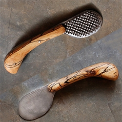 "Chelsea Miller Knives - made in Peacham, VT by the father/daughter duo. Interesting mix of knife/graters. ""I encourage you to experience these knives as living art."" says the website."