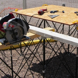 "The Centipede Sawhorse supports thin sheet materials or table tops 4' x 8' and folds down to 9"" x 14"" for convenient transportation and storage."
