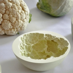 Reversed volumes by mischer traxler are bowls cast with fruit & vegetable imprints.