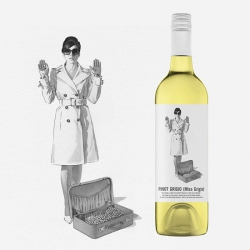 "Marauding Vintners's ""Miss Grigio and Mr Noir "" wines with design firm MASH playing with Mafia type characters to become wine personalities. Illustration by Harry Slaghekke."