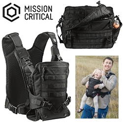 Mission Critical - Tactical Parenting Gear. Everything from baby carrier to diaper bag to backpack... all black and MOLLE compatible.