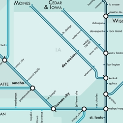 Six maps of United States river systems—London Underground style—by Daniel Huffman
