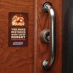 You Make Mistakes When You're Hungry - great guerrilla campaign for Snickers... stickers spread throughout the city highlighting mistakes.