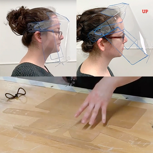 MIT Project Manus COVID-19 Face Shield is a single-piece design that comes flat and can be assembled into a 3-dimensional face shield. Ideally die cut (but could be laser cut on demand too.)