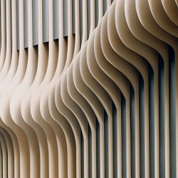xarchitekten designed the facade for  salón mittermeier, representing flowing hair