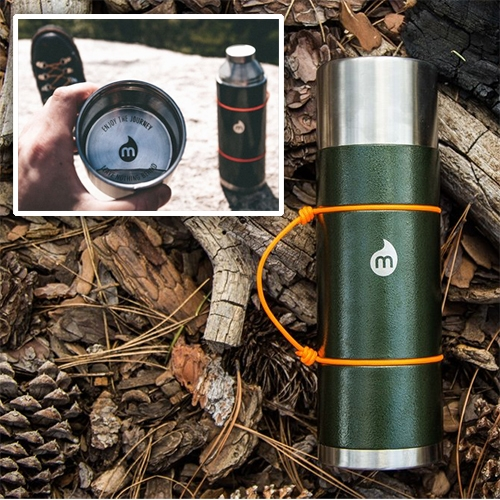 Mizu V10 - Thermos with built in cup/cap and nice self-cinching rope handle detail.