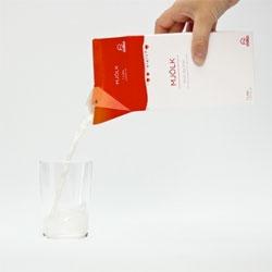 Minimalist milk carton packaging by Stellan Rexmark.