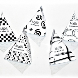 Swedish dairy producer Skånemejerier has released a series of 2 centiliter milk cartons for restaurants, hotels and conference centers.  The retro looking black and white patterns was designed by ID kommunikation.