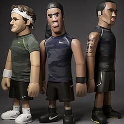 "Nike Pro Athlete series of vinyl created by master toy designer Michael Lau. The figures stand 20"" tall and are wearing authentic 'Pro' fabrics. They will not be for sale though, instead the toys are being auctioned off for charity in Hong Kong."