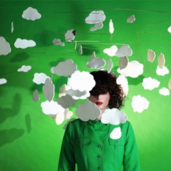 Very poetic cloud and bird mobiles for children and art work exhibition. By Guillemette Lanthiez.