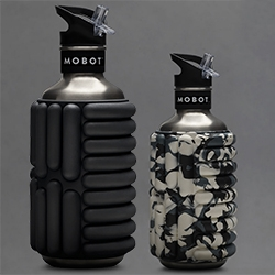MOBOT - foam roller stainless steel water bottle. In 40oz and 18oz.