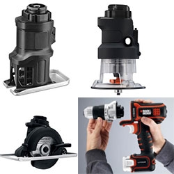 Black & Decker is going MODULAR with their new power tool - Matrix tool system consists of main unit containing a handle, motor and battery, to which the user connects: drill, impact driver, oscillating multi-tool, jigsaw, sander, router and circular saw.