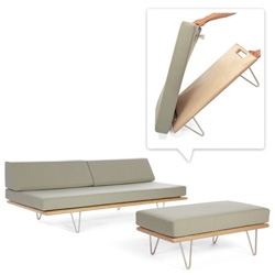 Case Study Convertible Table Ottoman ~ such a nice versatile, flexible piece ~ and a perfect match to the endless combination of woods/legs/colors of the iconic daybeds