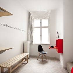 "QUOTEL (combination of words: ""quote"" and ""a hotel""). Architects of mode:lina have completed an apartment designed for guests visiting the Poznań International Fair."