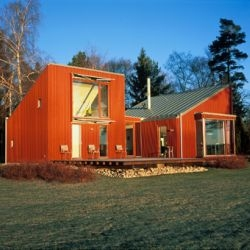 Staffan Strindberg's 'Red Cabin by the Sea', a modern interpretation of the traditional Swedish 'Red Stuga'.