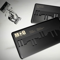 This business card plays a classic rock theme when rubbed by fingernail, using the same principle of a musicbox comb