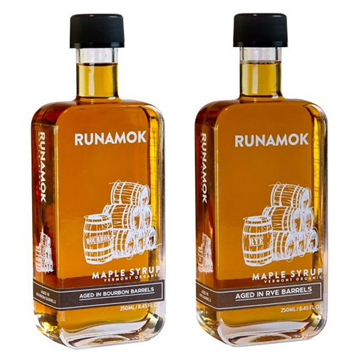 Runamok Barrel-Aged Maple Syrups. Aged in Bourbon, Rye Whiskey, or Rum barrels. Great bottle shape too!