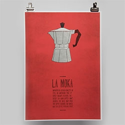 Emily Isles' fun posters of italian inventions complete with little stories ~ La Moka, La Vespa, La Letter 22, L'ape.