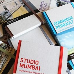 Studio Mumbai and Dominique Perrault, in 'Inspiration and Process in Architecture', a series of monographs published by Moleskine exploring the design processes of international architects.