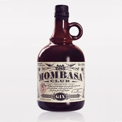 Classic ornamented bottle design for Mombasa Club Gin by Luis Vázquez from Typesense.