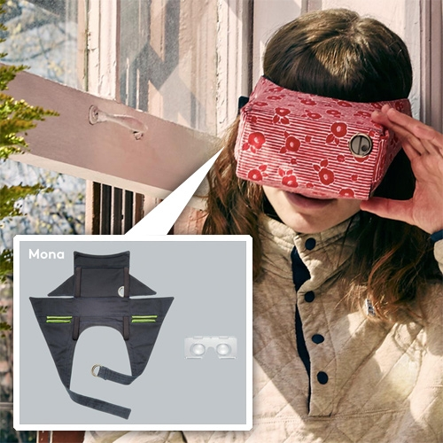 Mona VR flat packable phone headset. Superior luminosity with fire-hardened glass lenses, designed for easy fitting. Wrapped in a 100% cotton shell with adjustable headband.